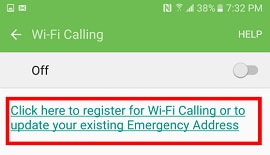 The link is labelled 'Click here to register for Wi-Fi Calling or to update your existing Emergency Address'