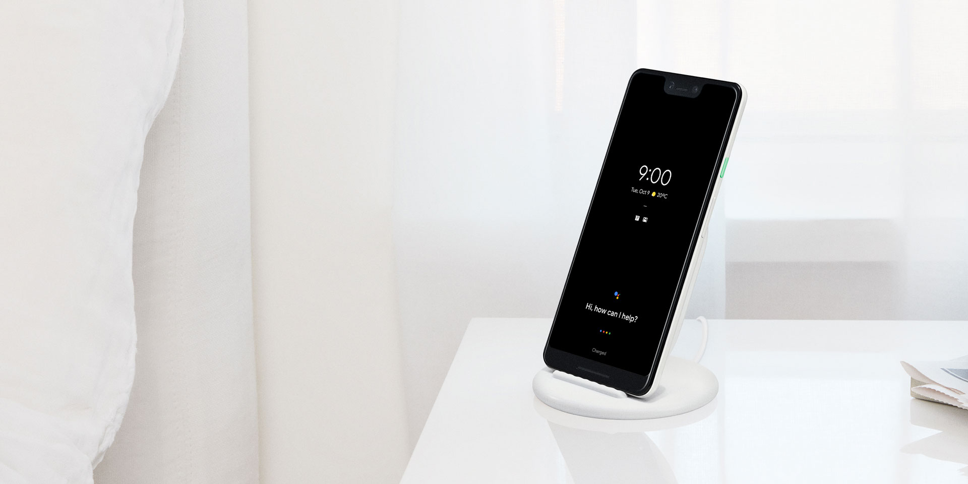 Charge the Pixel 3 and Pixel 3 XL wirelessly with the Google Pixel Stand.