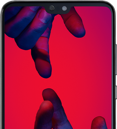 A phone screen with a red background and two hands reaching for one another