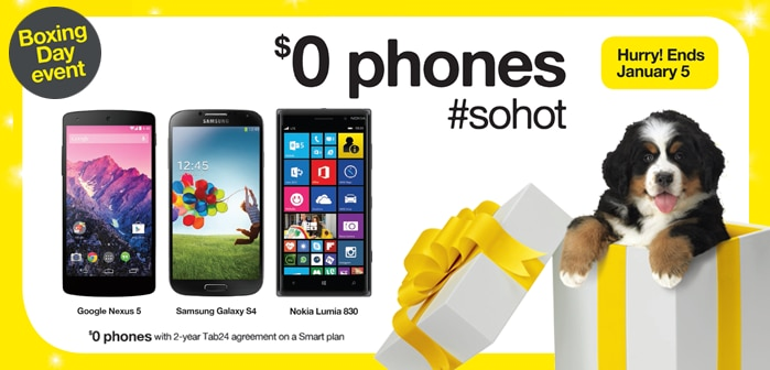 Boxing Day Event - $0 phones - Google Nexus 5 - Samsung Galaxy S4 - Nokia Lumia 830