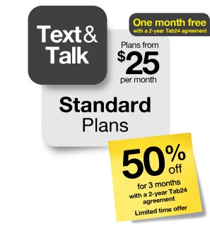 Standard Plans - Text and talk - One month free - 50% off for 6 months
